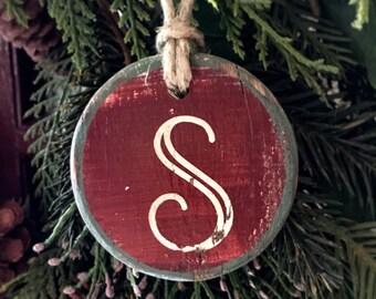 Monogrammed letter - handmade rustic Christmas ornament for baby