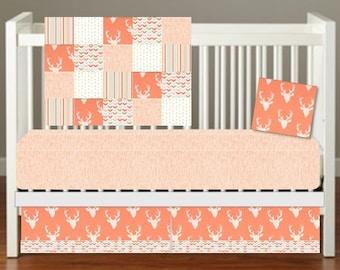 Woodland Crib Bedding, Girl Woodland Crib Bedding, Girly Deer Crib Bedding, Coral Deer Crib Bedding