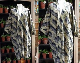 1980's Batik Cotton Kimono Robe Beaded Exhibition Piece Free Size .