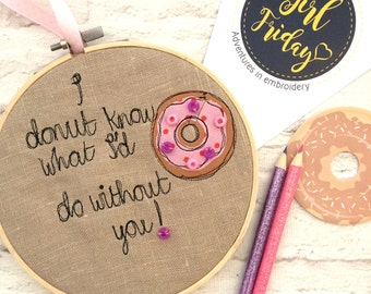 Donut love decorative hoop
