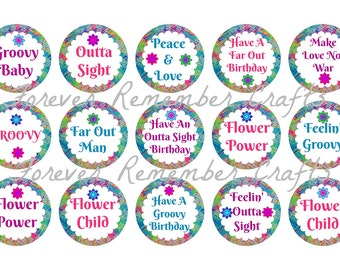 INSTANT DOWNLOAD 1960's & 1970's Birthday Party 1 Inch Bottle Cap Image Sheets *Digital Image* 4x6 Sheet With 15 Images