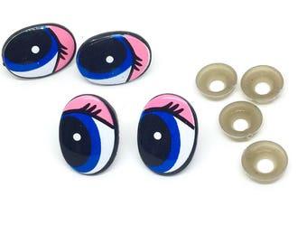 1 pair of dolls' eyes, 24 x 18 mm