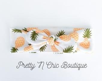 Pineapple Print Knot Headwrap - Adjustable Knot Headband - Baby Headwrap