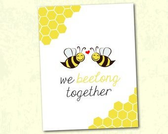 Bee Valentines Day Card - We Beelong Together