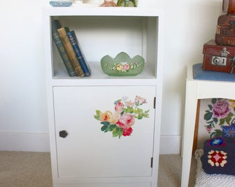 Vintage shabby chic up-cycled bed side table floral rose print decoupage