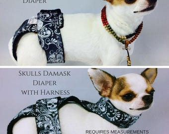 Female Girl Dog Diapers  Skulls Washable Waterproof Group One Dog Gallery Customized Fitted Nappies Pet Supplies No Slipping Harness