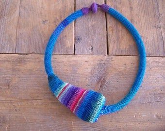 Turquoise crocheted necklace, you can wear it in different ways ,and wearing light.