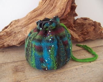 BOSELF .... crocheted fairy tales pouch bag with felt pieces, embroidered and decorated with beads.
