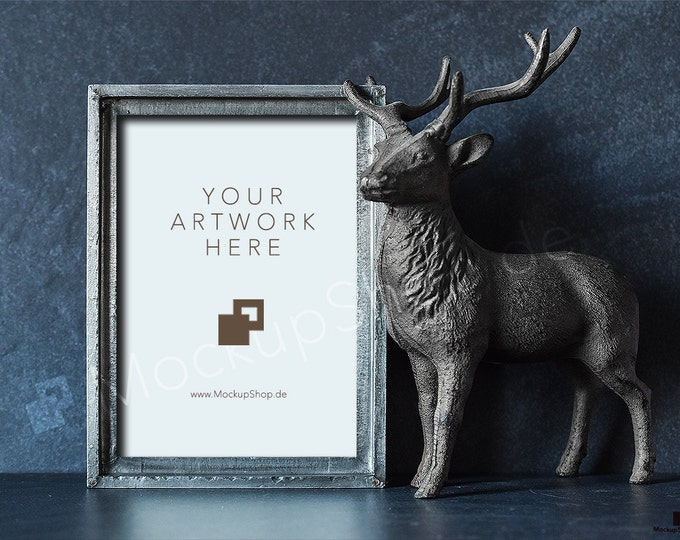 "WINTER MOCKUP FRAME 5x7"" / 10x14"" / stag / deer / vension / with old vintage silver frame mockup  / deer stock photo / autumn photo / mockup"