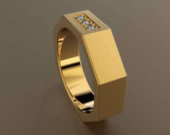 Diamond Yellow Gold 6mm Brushed Mens Wedding Band, Matte Satin Octagon 14kt Yellow Gold Wedding Ring with 3 Diamonds, Perfect for a Mechanic