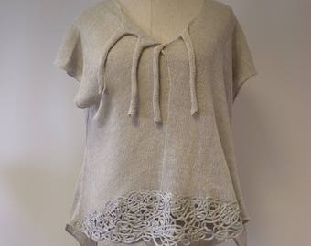 Boho transparent hand made silver grey blouse, XL size. Only one sample.