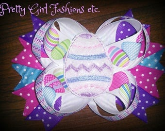 "5"" Light up Easter egg boutique stacked hair bow on a single prong alligator clip"