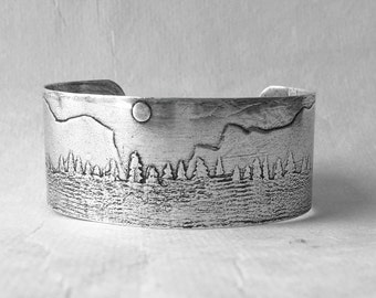 Yosemite Cuff Bracelet . Sterling Silver over brass or Solid brass. Hand etched and forged.