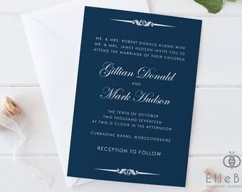 Navy Wedding Invitation // Classical Wedding Invites // Classic Wedding // Navy Wedding Invite // Paddington Collection
