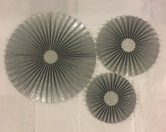 3 silver glitter paper rosette perfect for weddings back drop for photos and any celebrations