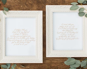 Custom 11x14 Wedding Vows