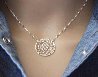 Sterling silver necklace mandala pendant - minimalist necklace - mandala necklace - fine silver necklace - geometric necklace