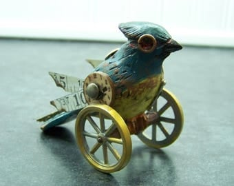 Steampunk Wood Bird on Metal Wheels