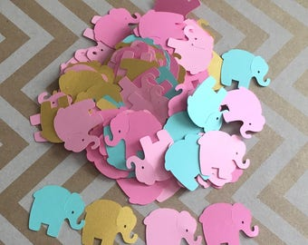 Light Teal, Metallic Gold, Light Pink, Dark Pink Elephant Confetti for Baby Shower, Elephant Theme Party, Card Making, Scrapbooking