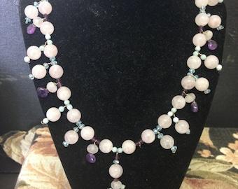 Rose Quartz, amethyst, peridot, and citrine necklace