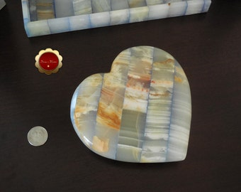 Large Onyx Heart, Blue Onyx Patchwork Heart, Large Stone Heart, Carved Onyx Heart, Rare Large Blue Patchwork Carved Heart