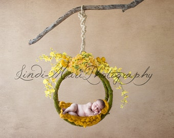 Digital Backdrop Newborn Yellow Mossy Swing