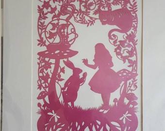 Alice in Wonderland papercut picture