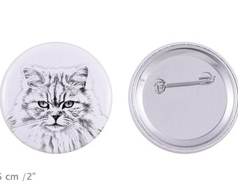 Buttons with a cat -British longhair