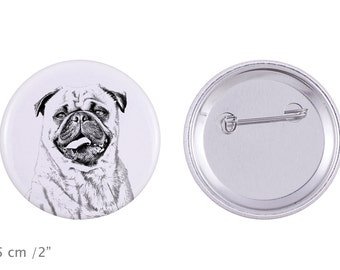 Buttons with a dog - Pug