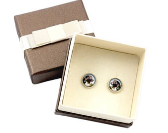 Pointer. Pet in your ear. Earrings with box. Photojewelry. Handmade.
