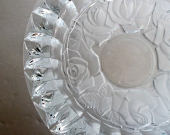 Rose Ashtray, Crystal Ashtray, Crystal Engrave Ashtray, Crystal Large Ashtray, Glass Large Ashtray, Beautiful Crystal Ashtray, Ashtray