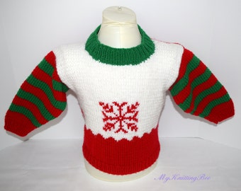 Hand Knit Christmas Sweater For Boy or Girl Size 24 months