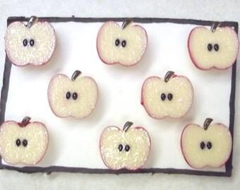 APPLE SLICE Teacher 8 pc Handmade Decorative Bulletin Board Push Pin Thumb Tacks