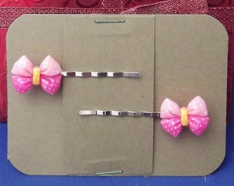 PINK BOW Bobby PIn Hair Clip Accessory - Set of 2 Handmade
