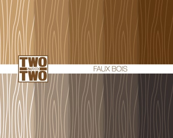 Faux Bois Digital Paper: Fake Wood Grain Patterns for Fall, Autumn, Thanksgiving, Forest, Woodland or Rustic Backgrounds