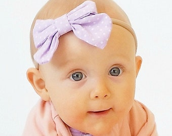 Lavender Infant Headband, Nylon Headbands, Baby Girl Headband, Polka Dot Headband, Headband for Girls, Easter Gift