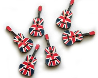 10 Wooden Union Jack Guitar Buttons - British Flag
