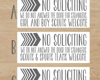 No Soliciting Decal, No Solicitation Sign, No Soliciting Yard Sign, No Soliciting Door Sign, No Soliciting Funny No Soliciting Baby Sleeping