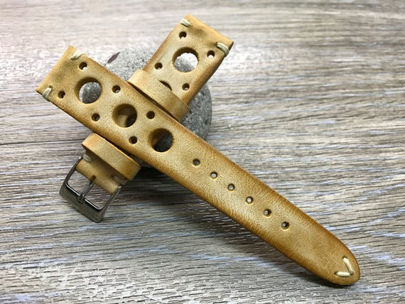 Handmade Leather watch strap | Vintage Beige watch band | Rally Leather Watch strap | Racing Leather watch strap for Rolex, Tudor - 19/20mm