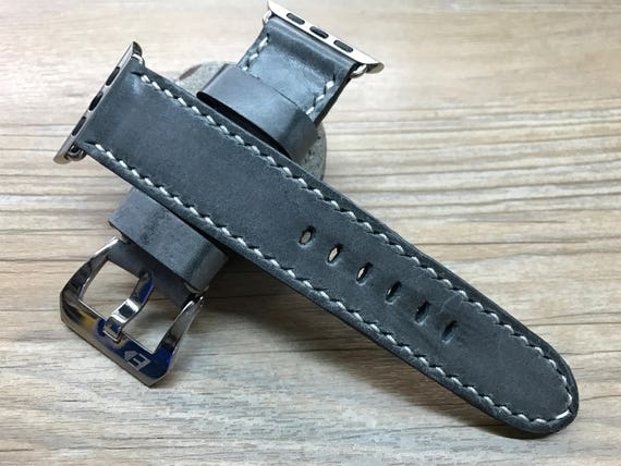 Apple Watch Band | Apple Watch Strap | Leather Watch Band | Vintage Grey Leather Watch Strap for Apple Watch 38mm & 42mm Series 1 | Series 2