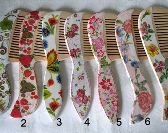 Wooden combs decorated by decoupage technique