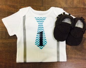 Tie and Suspenders First Birthday Onesie