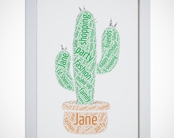 Personalised Potted Cactus Plant Framed Word Art Picture Print Birthday Gift