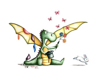 Watercolour Magic Dragon-1 Art print