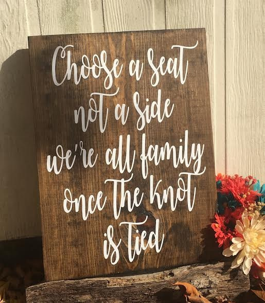 Choose A Seat Not A Side Rustic Wedding Sign Wooden Wedding