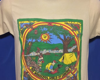 Vintage 1980s '84 camping t shirt scenic nature outdoors screen stars *XS