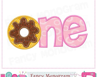 ONE applique,Donut,One design,ONE embroidery,Donut applique,Donut design,Babies applique.-1756