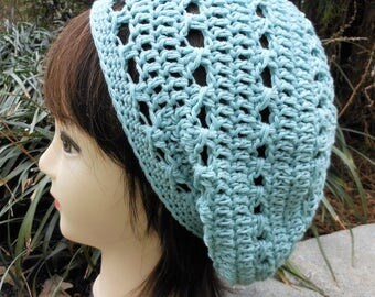 crochet slouchy hat, light blue cotton spring and summer accessory, texture knit beanie, beach / resort wear, gift for her, birthday present