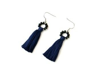 Navy Tassel Earrings, Boho Earrings, Black And Blue Tassel Earrings, Dark Blue Cotton Earrings, Beaded Tassel Earrings, Textile Earrings