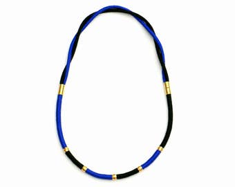 Black And Blue Necklace, Color Block Necklace, Rope Necklace, Textile Necklace, Brass Necklace, Statement Necklace, Modern Jewelry